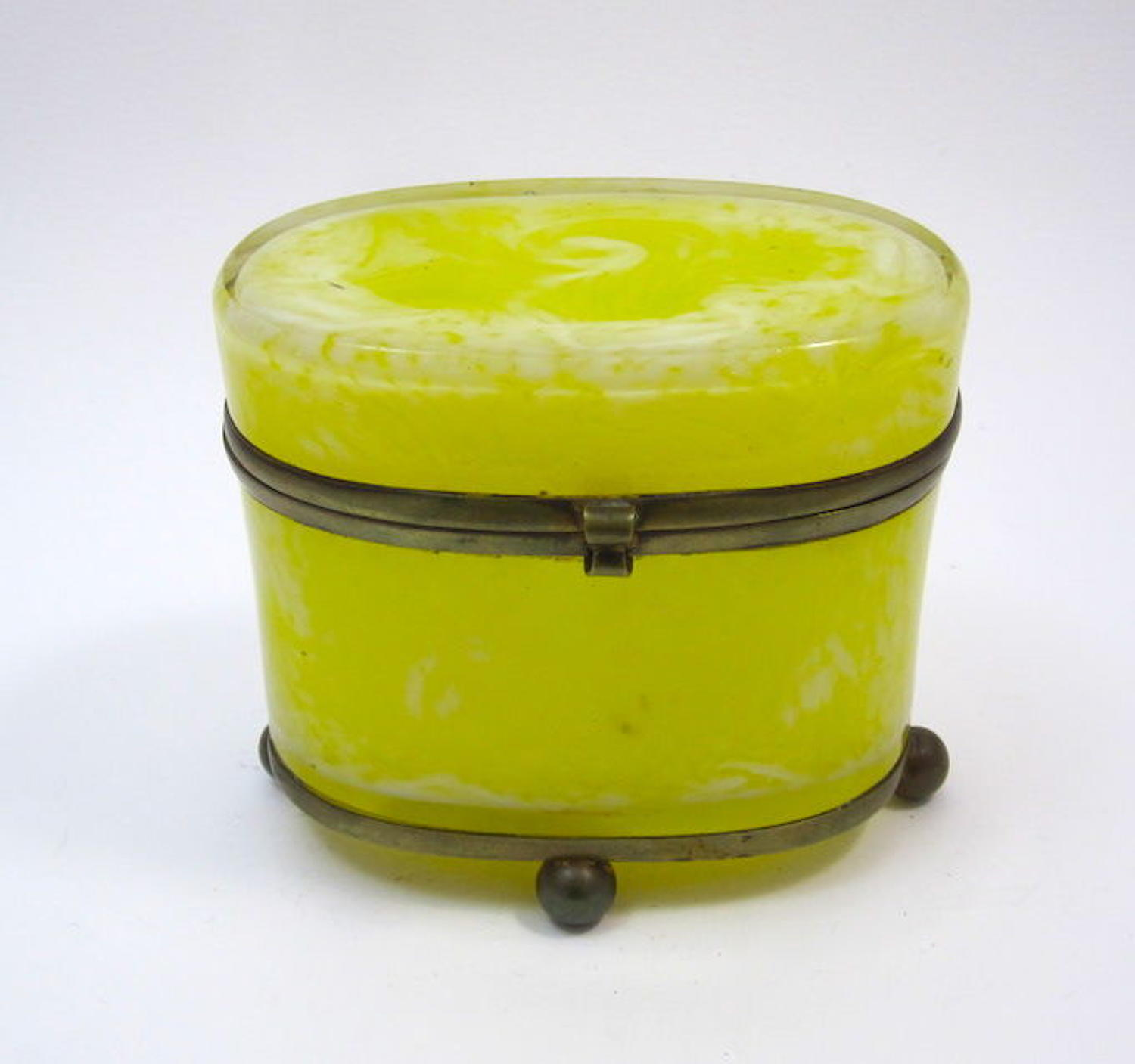 Rare Antique Yellow Opaline Casket