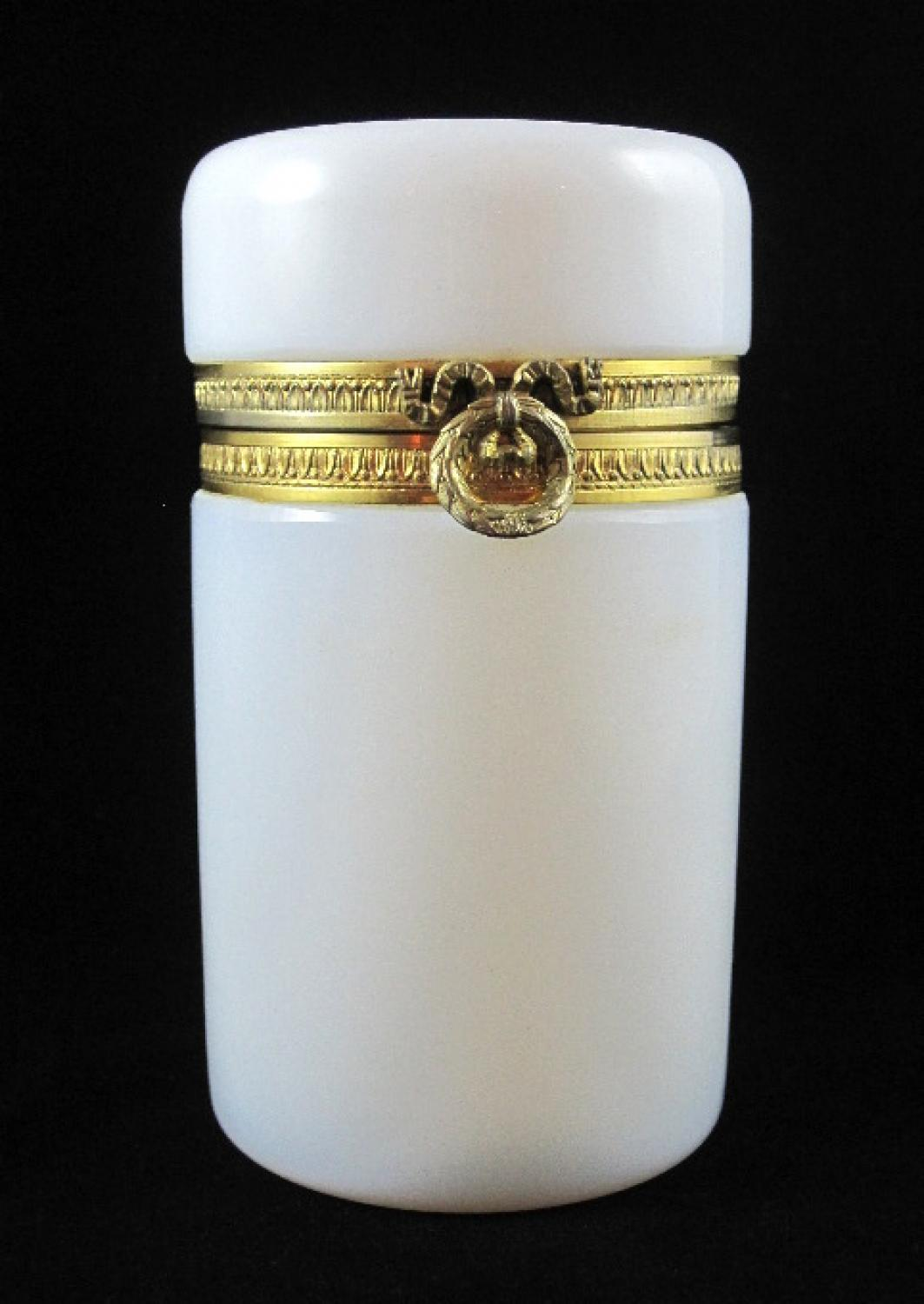 Antique French Opaline Cylindrical Casket