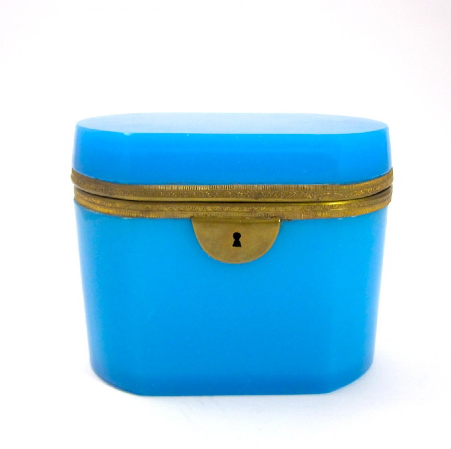 Antique French Blue Opaline Glass Casket