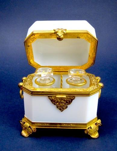 Antique White Opaline Glass Scent Casket