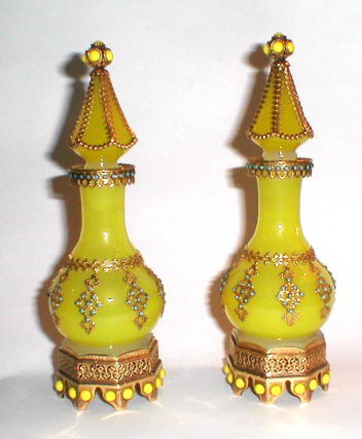 Pair French Yellow Opaline Scent Bottles