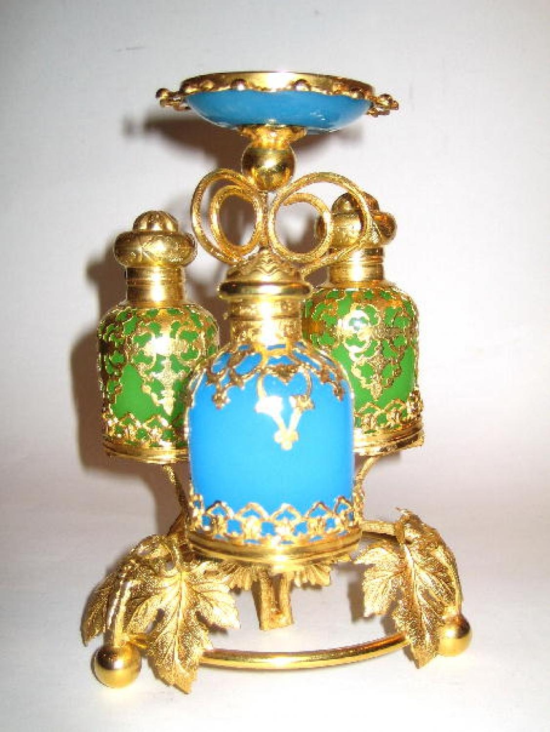 French 19th Century Opaline Perfume Set