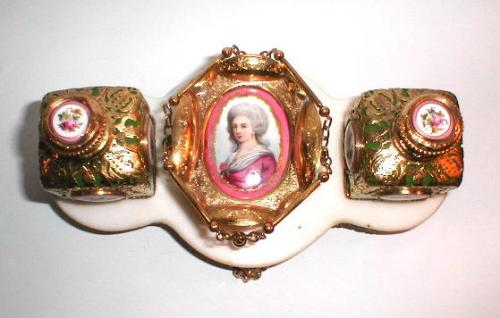 A French 19th Century Opaline Perfume Set.