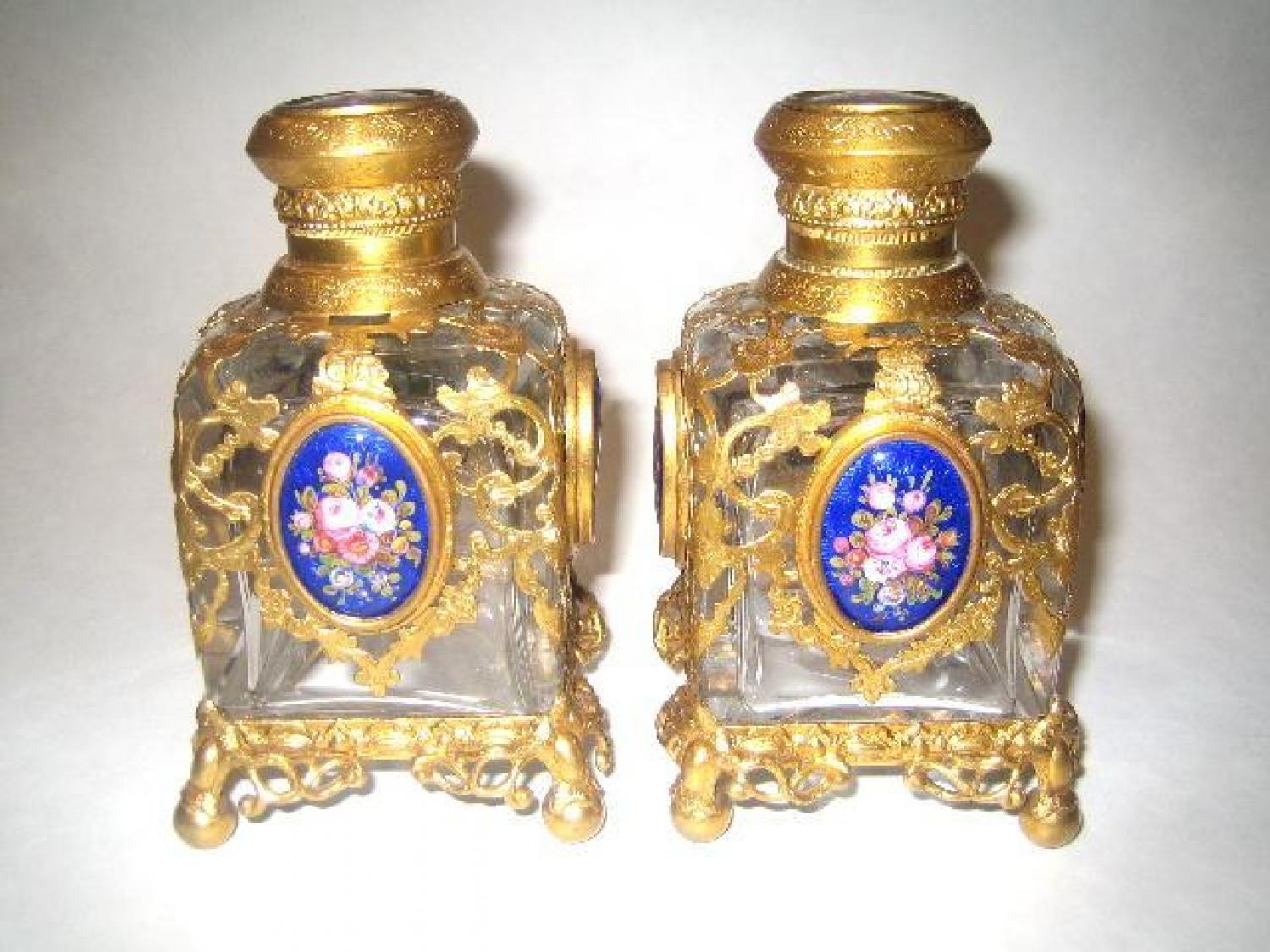 Pair of French Glass Scent Bottles
