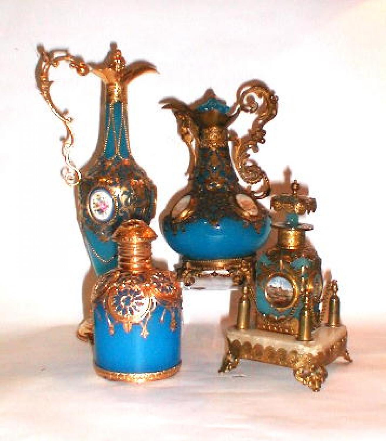 A Selection of  Blue Opaline  Scent Bottles