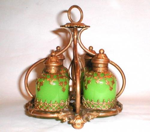 A French Green Opaline Glass Perfume Set.