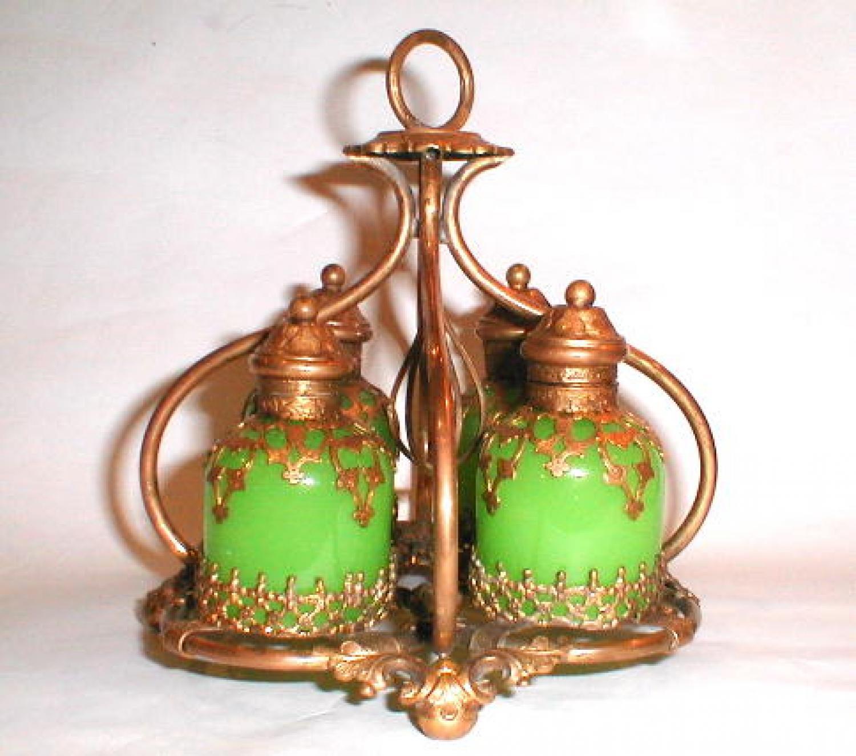 A French Green Opaline Glass Perfume Set.
