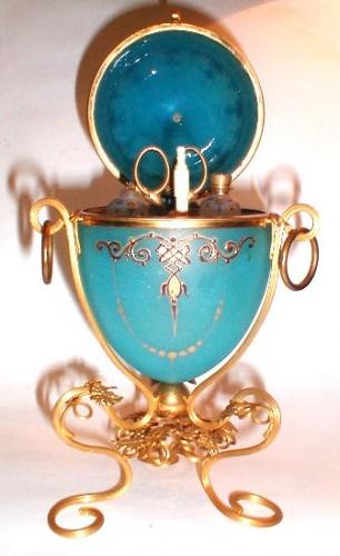 French Blue Opaline Glass Perfume