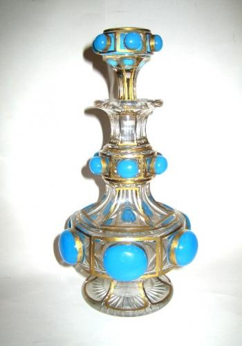 Baccarat Turquoise Glass Scent Bottle.