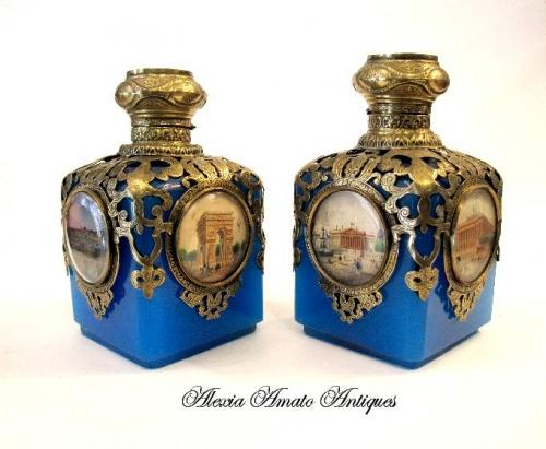 Pair of Antique Opaline Glass Scent Bottles