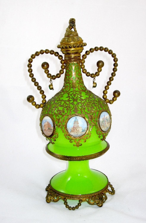 Palais Royal Green Opaline Glass Scent Bottle