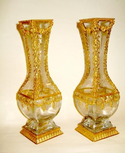 A Pair of French Napoleon III Crystal Vases