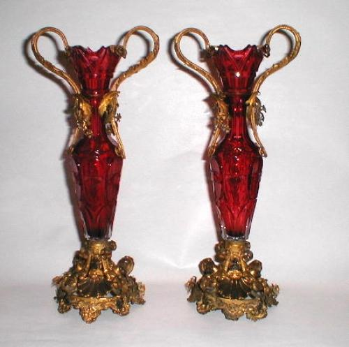 A Pair of French Cut Cranberry Vases