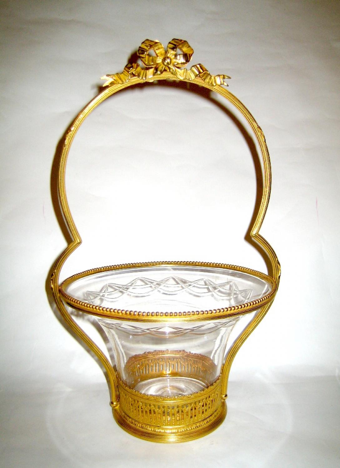 A Napoleon III Ormolu and Crystal Basket