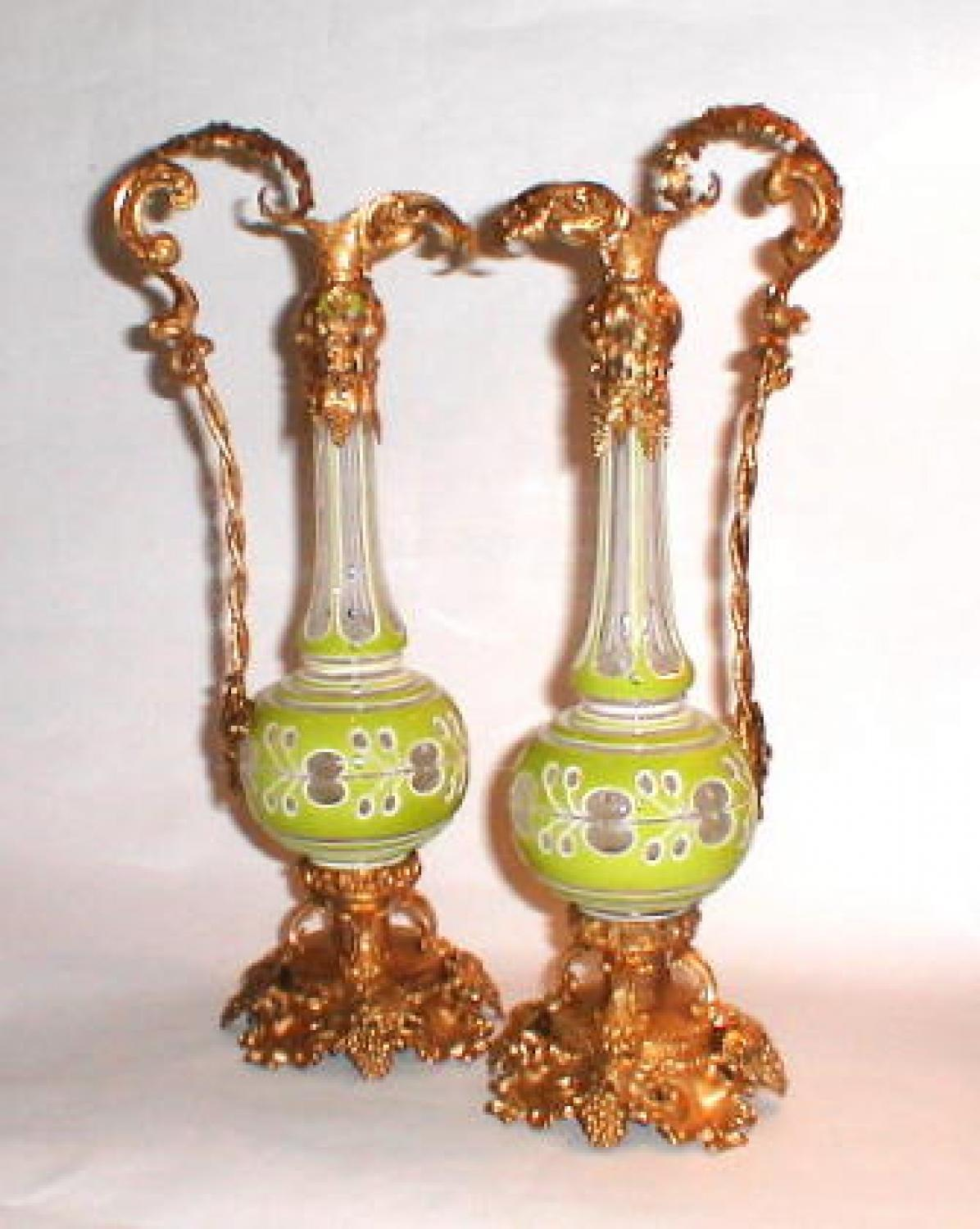 Pair of Antique Clichy Vases