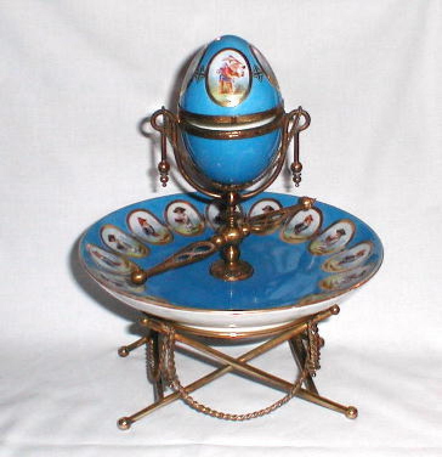 Rare French Porcelain `Roulette` Set