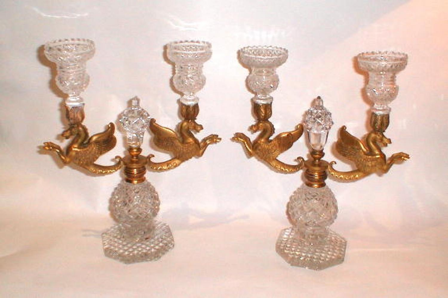 Pair of Napoloeon III Cut Crystal Candlebra