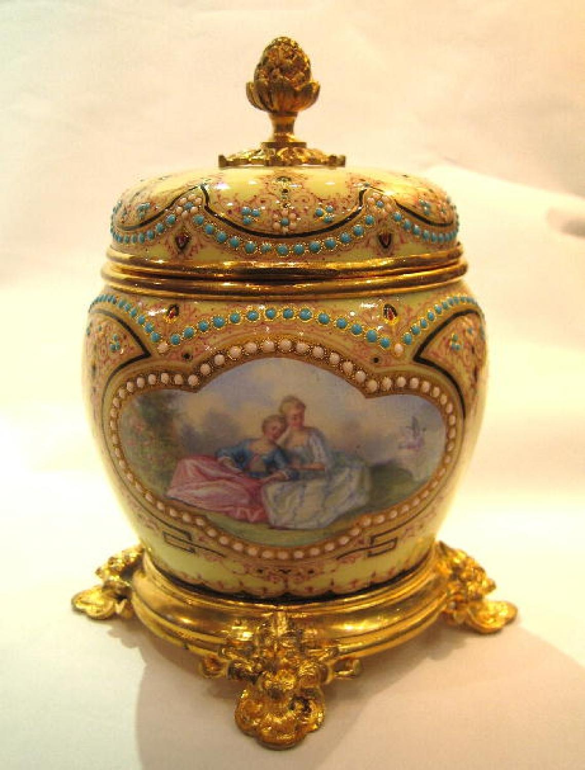 A Limoges Enamelled Box and Cover