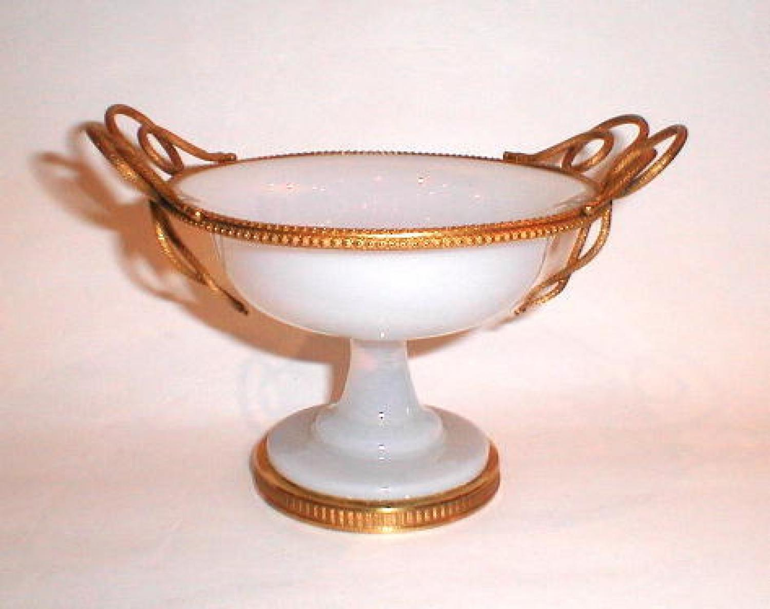 Antique White Opaline Glass Bowl
