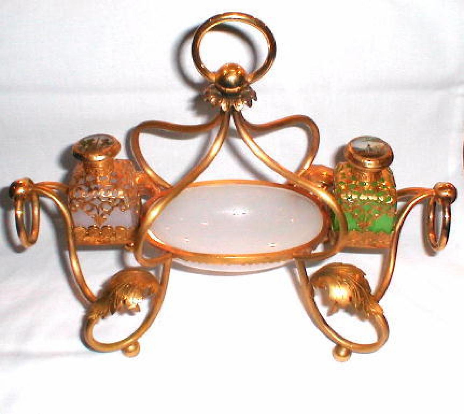 French 19th Century Opaline Glass Ink Set