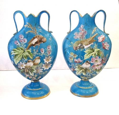 Pair of Antique Bird Opaline Glass Vase