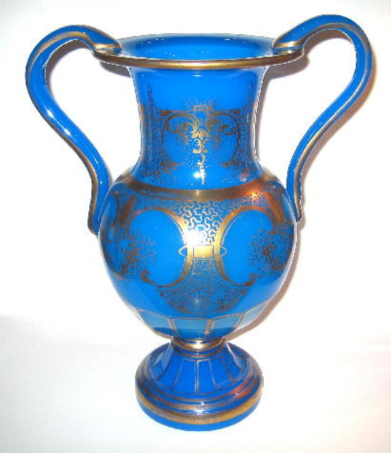 A Large French 19th Century Blue Opaline Vase