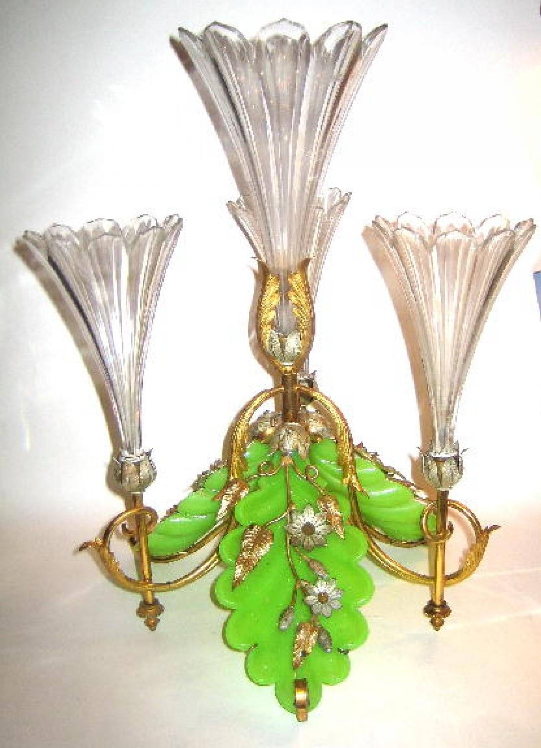 An Unusual Green Opaline & Clear Centrepiece