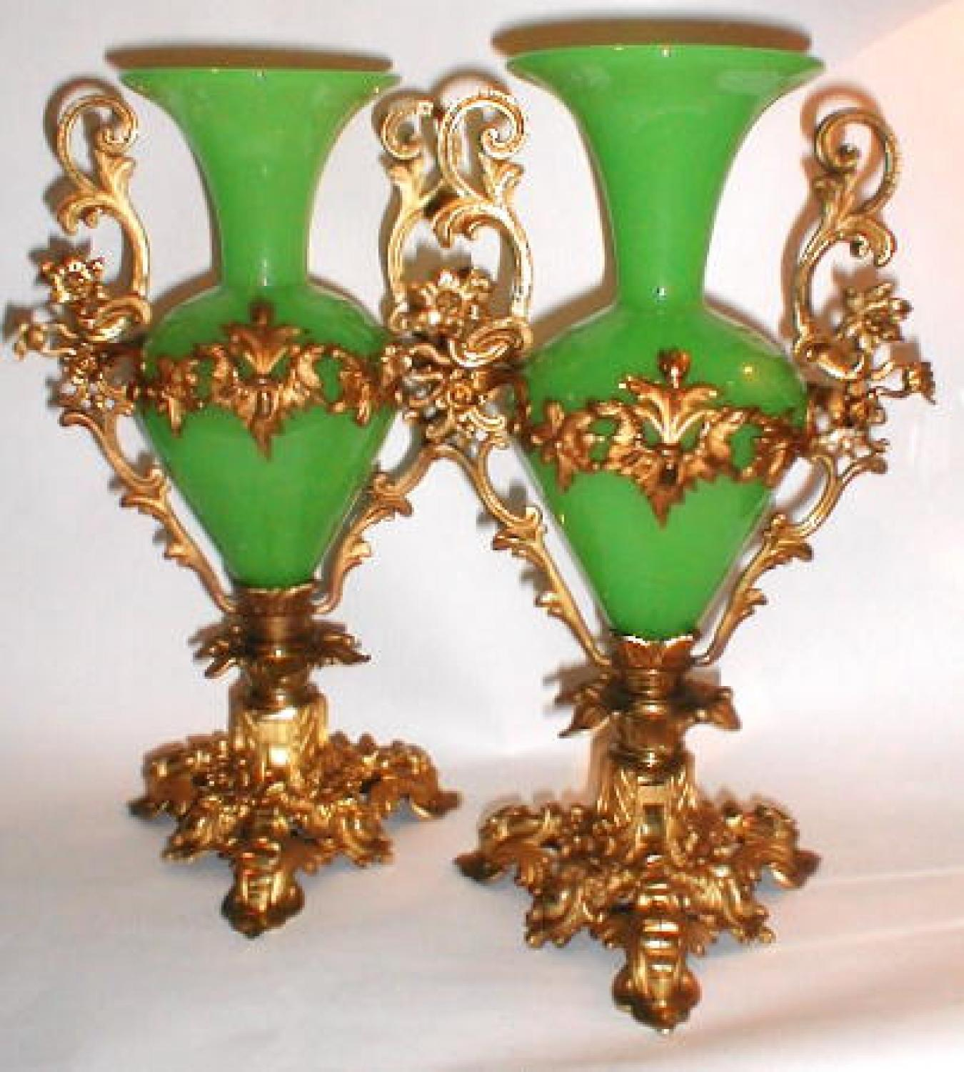 Pair of Tall French Green Opaline Vase