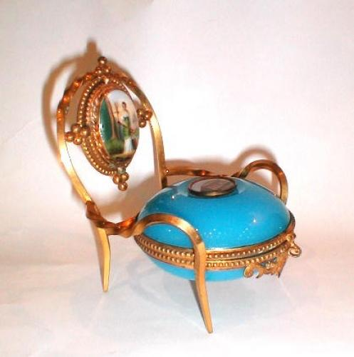 A Rare French Blue Opaline Glass Chair