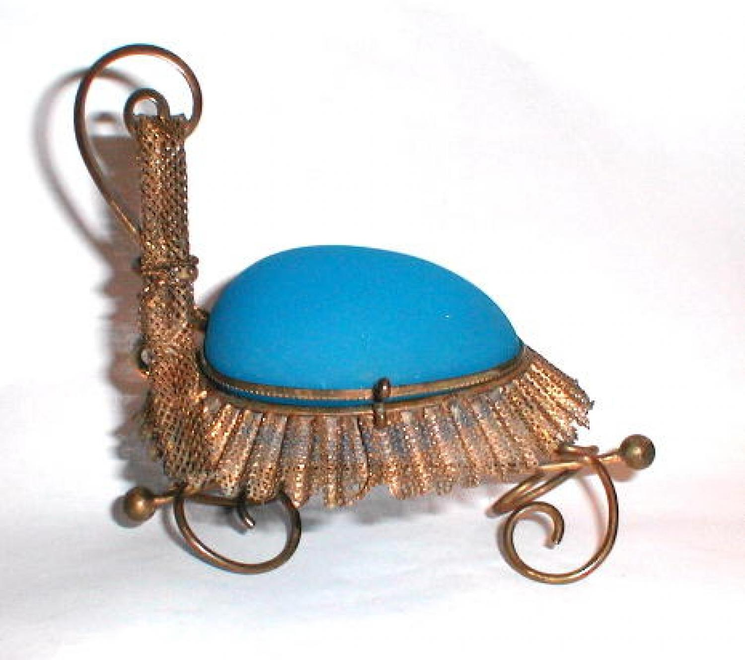 A French Blue Opaline Glass Whimsical Casket