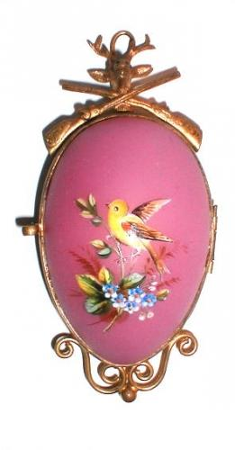 French Pink Opaline Glass Mirror Set.