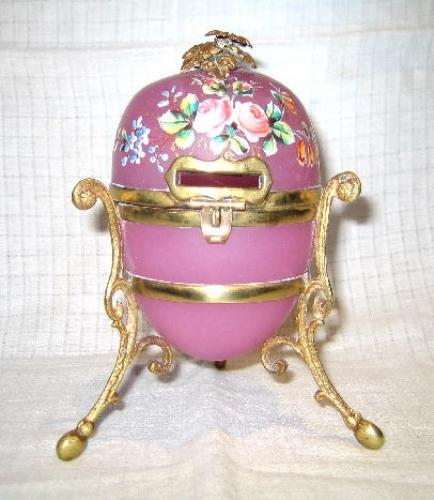 Unusual Pink Opaline Glass Money Box.