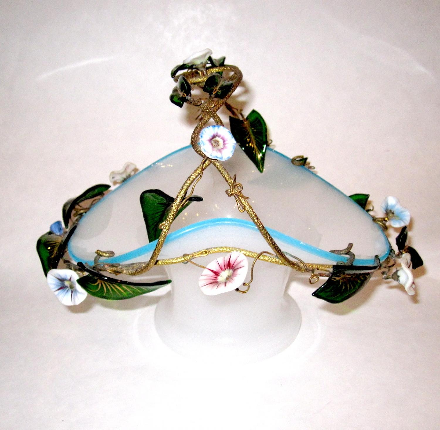 French Opaline Glass Basket
