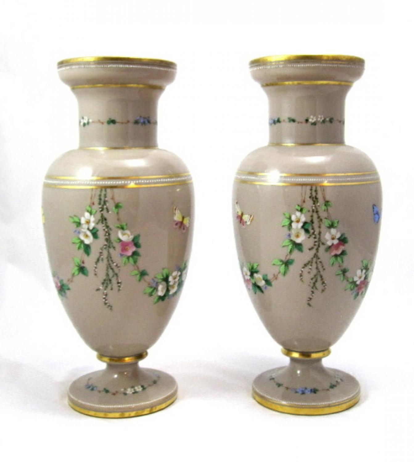 Pair of Opaline Glass Flower Vases