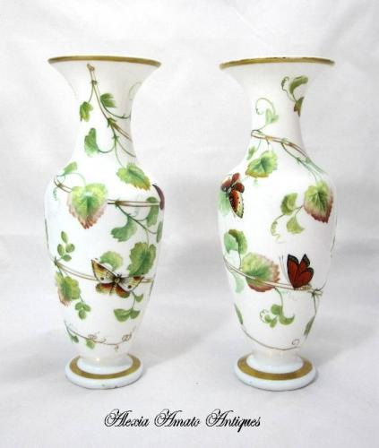 Pair of Rare Baccarat Opaline Glass Vases