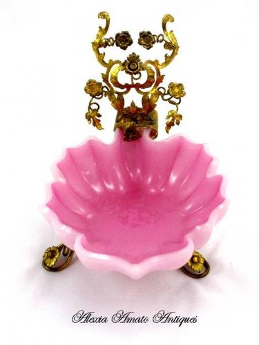 French Pink Opaline Glass Leaf Dish