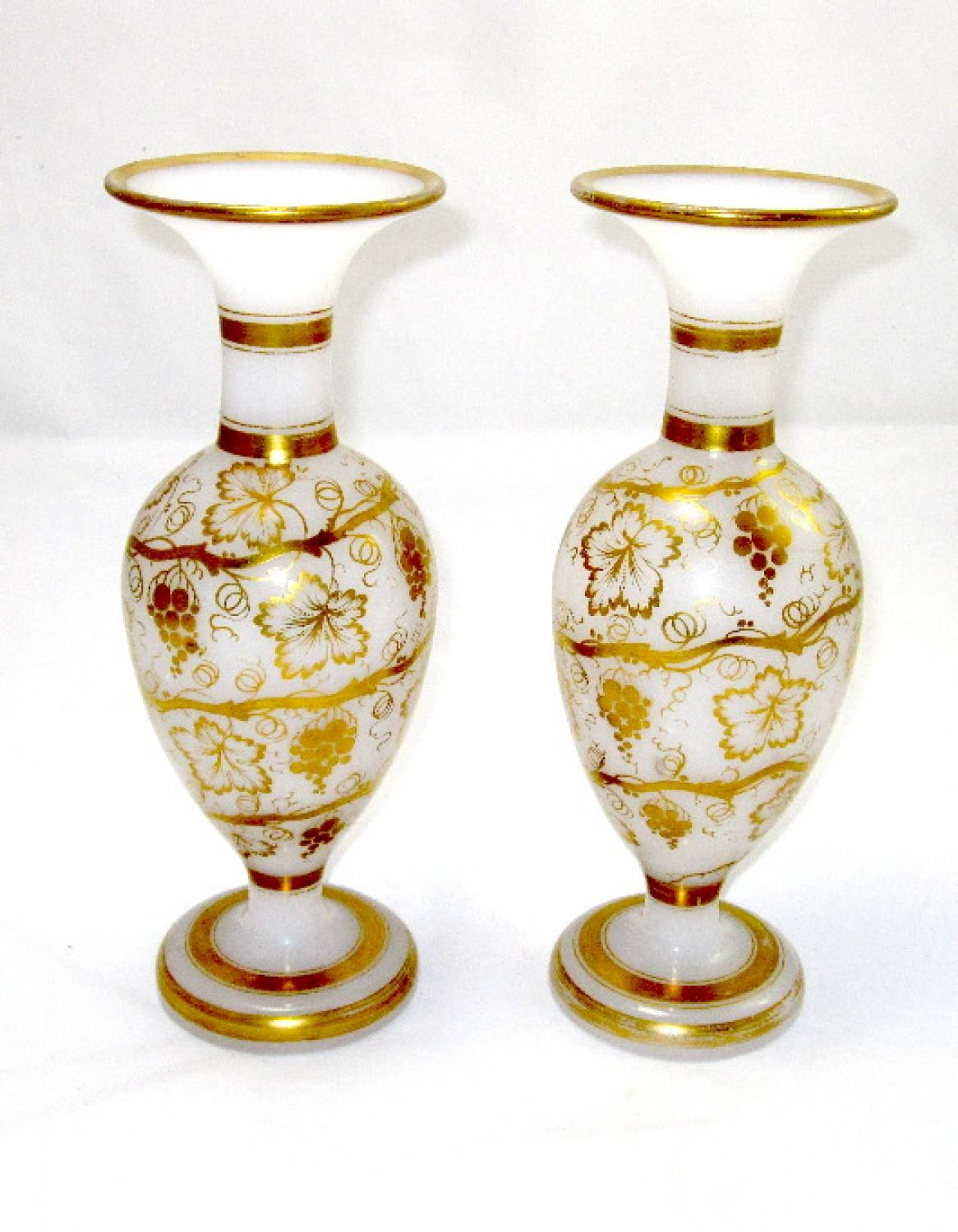 Antique Pair of Opaline Glass Vases