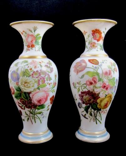 Pair of Baccarat Opaline Glass Vases
