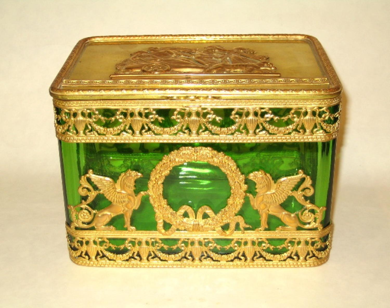 Napoleon III Dore Bronze & Glass Casket