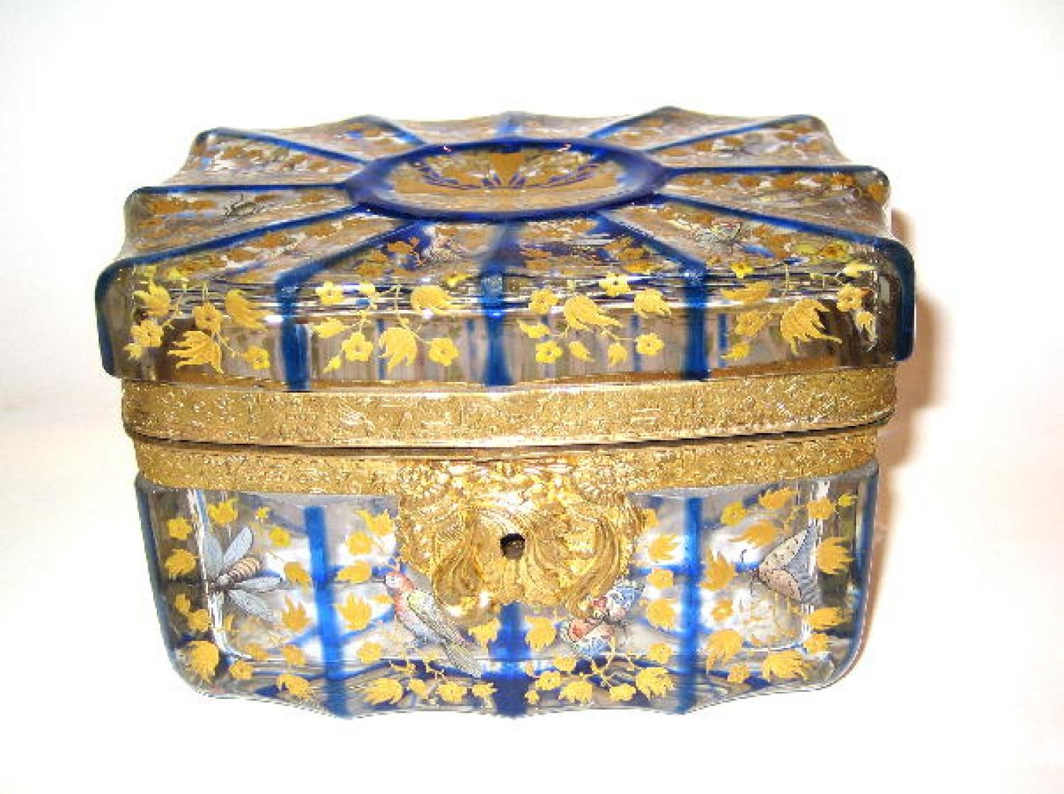 Bohemian Blue & Clear Enamelled Casket