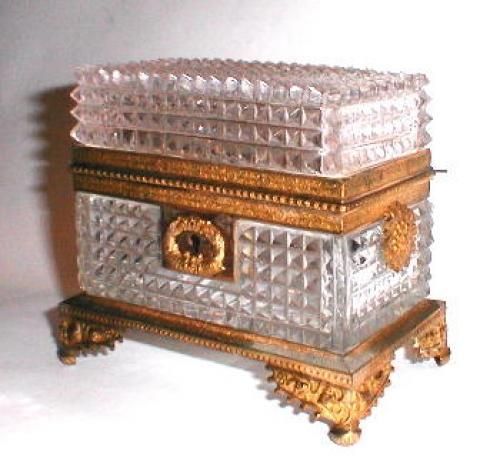 Early 19th C Cut Crystal French Casket
