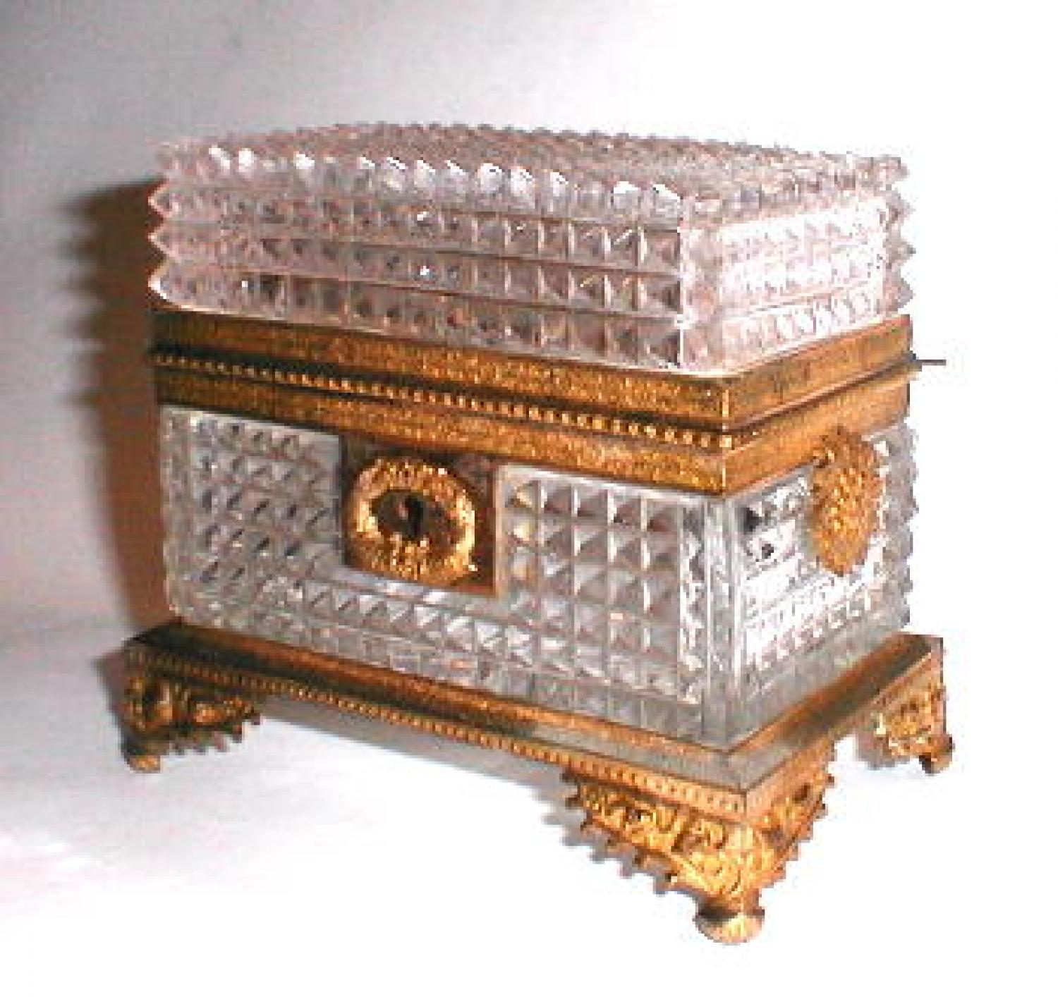 Early 19th C Cut Crystal French Casket