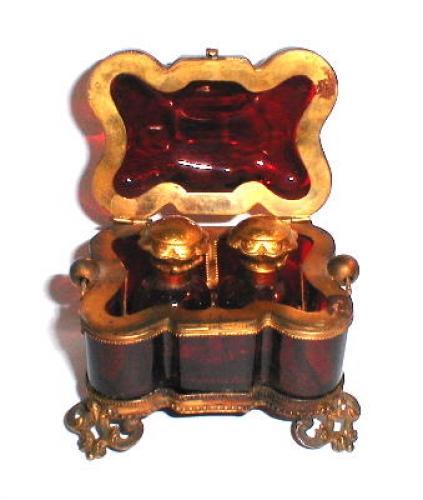 French 19th Century Ruby Perfume Casket
