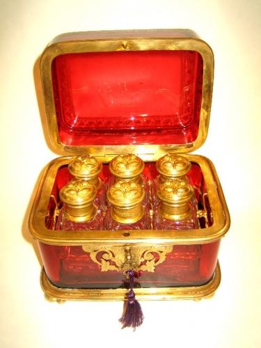 Antique French Ruby Red Perfume Casket