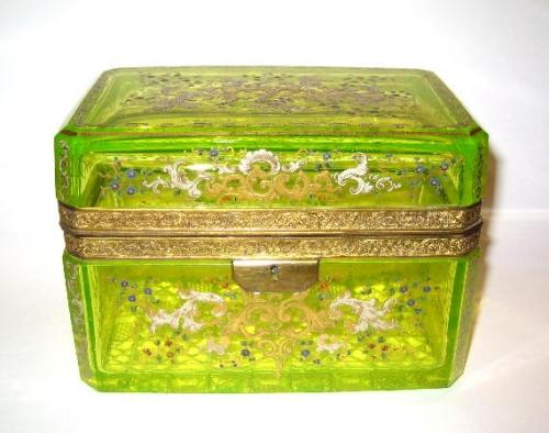 Rare Antique Uranium Glass Casket