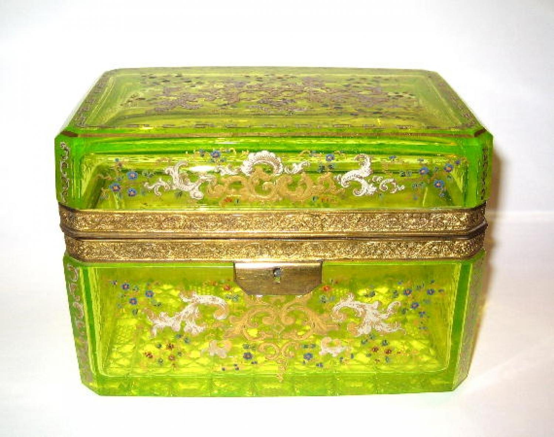 Rare Antique Uranium Glass Casket