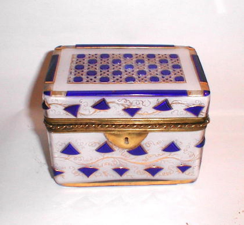 Antique Bohemian Overlay Glass Casket