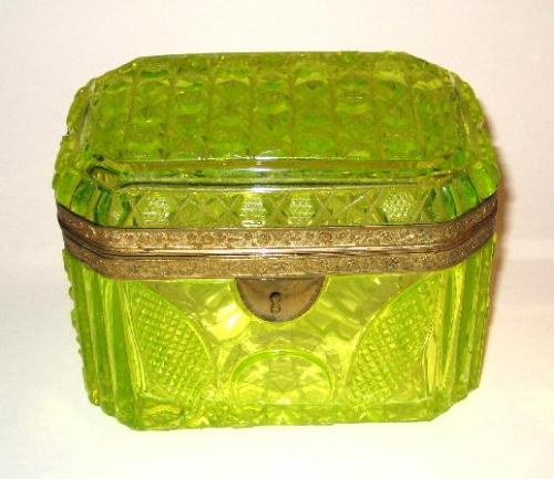 Rare Uranium Cut Glass Casket