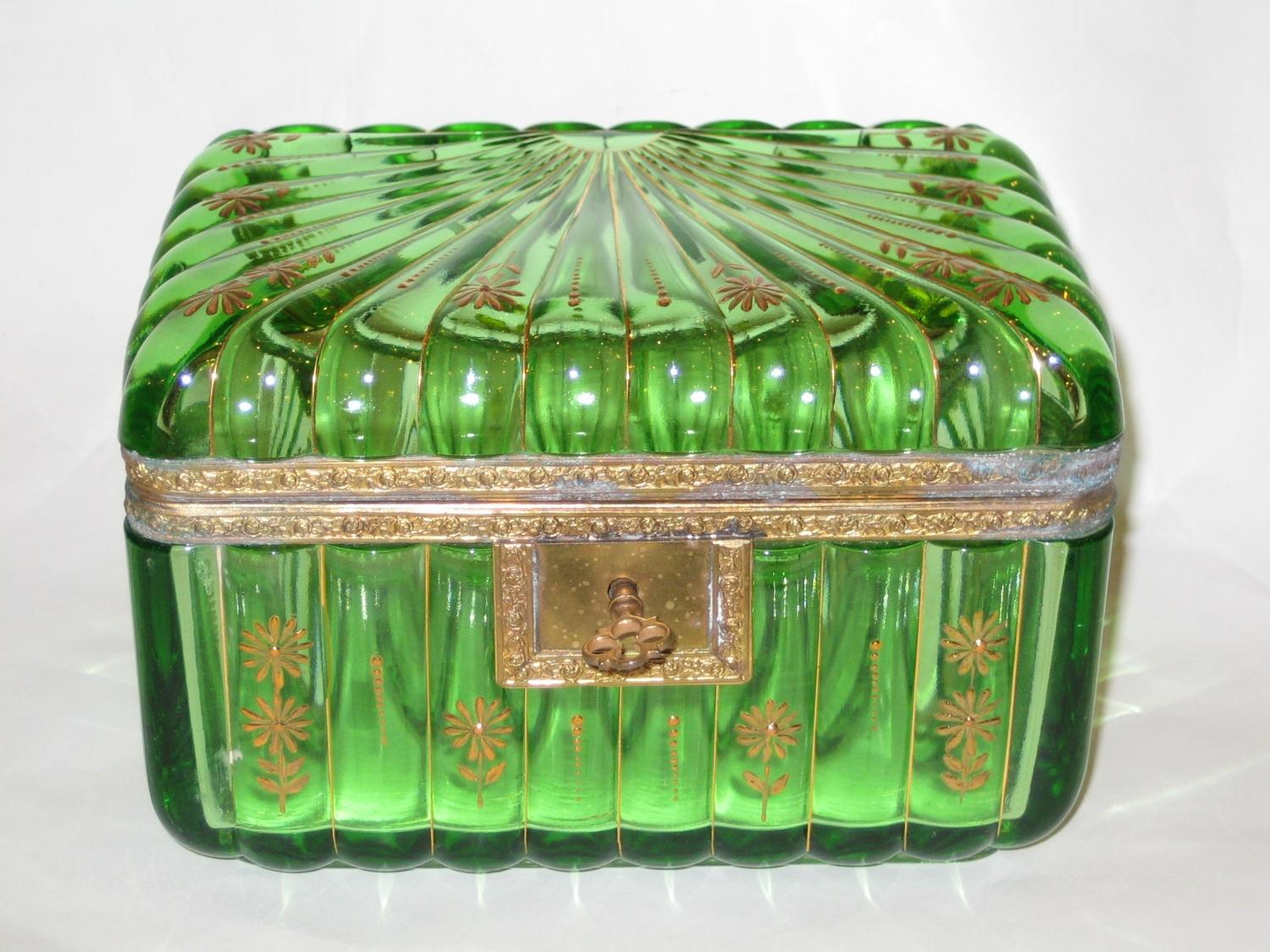 Unusual Antique Green Glass Casket