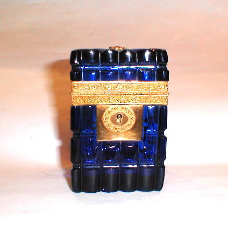 Fine Blue Cut Crystal Glass Box
